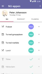 NU-appen startsida grafisk